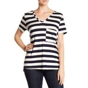 Tart Navy & White Stripe V Neck Pocket Tee Size XS